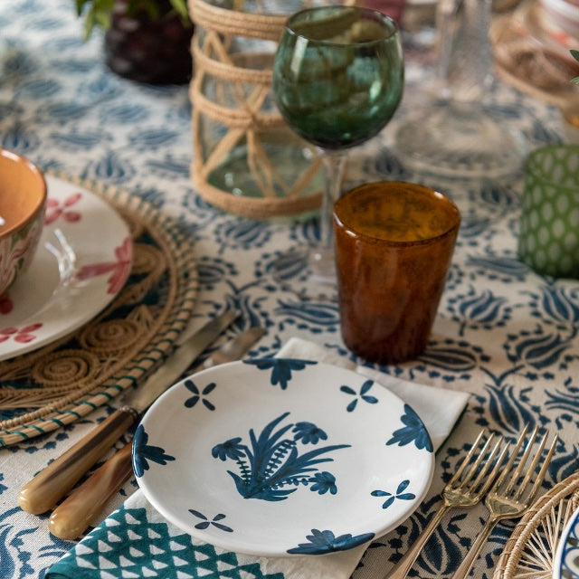 Tableware Blue Summer Flower Ceramic Small Plate Penny Morrison ceramics, COLOUR_BLUE, crockery, dining, fancy, floral, flower, motif, PATTERN_FLORAL, pink, place setting, plate, pottery, pretty, sets, side plate, small, Tableware