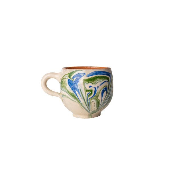 Tableware Blue and Green Marbled Ceramic Espresso Cup Penny Morrison blue, ceramics, coffee, COLOUR_BLUE, COLOUR_GREEN, crockery, cup, dining, espresso, green, ink, marble, mug, PATTERN_MARBLED, place setting, pottery, sets, small, swirl, Tableware, tea, terracotta