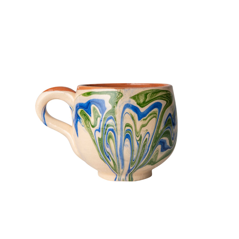 Tableware Blue and Green Marbled Ceramic Large Coffee Cup Penny Morrison blue, ceramics, coffee, COLOUR_BLUE, COLOUR_GREEN, COLOUR_PINK, crockery, cup, dining, green, ink, large, marble, mug, PATTERN_MARBLED, place setting, pottery, sets, swirl, Tableware, tea, terracotta