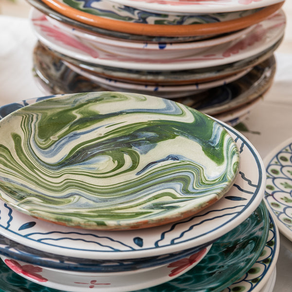 Tableware Blue and Green Marbled Small Plate Penny Morrison ARTISANAL, ceramics, COLOUR_BLUE, COLOUR_GREEN, PATTERN_MARBLED, plate
