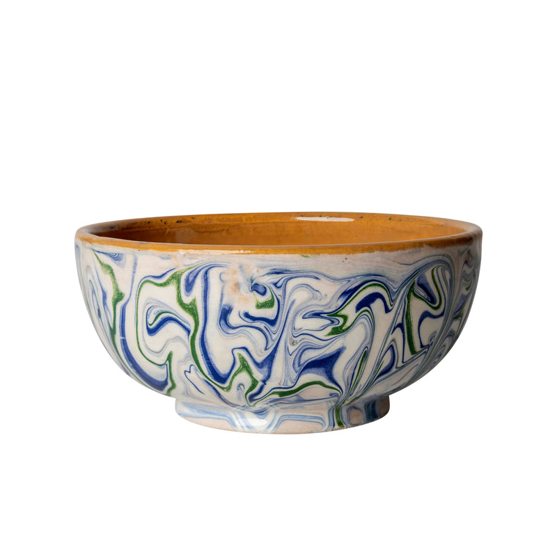 Tableware Blue and Green Marbled Ceramic Pudding Bowl Penny Morrison blue, bowl, ceramics, COLOUR_BLUE, COLOUR_GREEN, crockery, dessert, dining, green, ink, marble, PATTERN_MARBLED, place setting, pottery, pudding, sets, small, swirl, Tableware, terracotta, TYPE_BOWLS