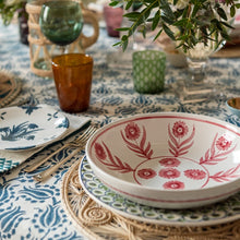 Tableware Blue and Green Trellis Ceramic Large Plate Penny Morrison blue, ceramics, COLOUR_BLUE, COLOUR_GREEN, crockery, details, dining, garden, green, intricate, large, lattice, main course, PATTERN_OTHER, place setting, plate, pottery, sets, squares, Tableware, trellis, TYPE_PLATES