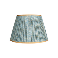Lampshade Blue and White Tribal Pleated Silk Lampshade with Gold Trim Penny Morrison bestseller, COLOUR_BLUE, Empire, Gathered, Lamp, Lampshade, Patterned, Pleated, Shade, Straight