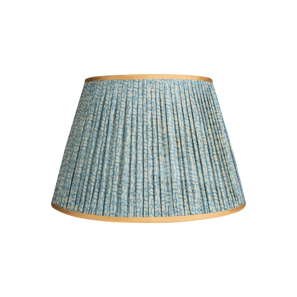 Penny-Morrison-Blue-and-White-Patterned-Pleated-Silk-Lampshade-with-Golden-Trim-Straight-Empire-Pleated-Gathered-Unique-Stylish-Colourful-Quirky-Floral-Patterned