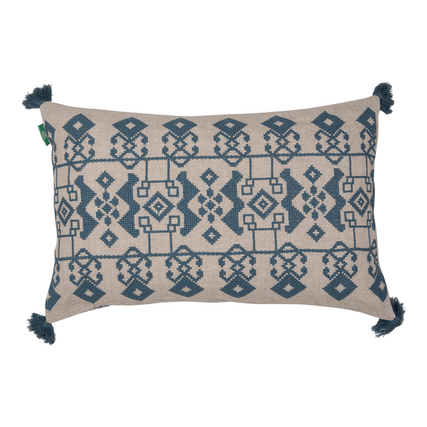 Cushions Blue on White Azteca Embroidered Cushion with Blue Tassels Penny Morrison ACCESSORY, BLUE, COLOUR, COLOUR_BLUE, COLOURFUL, CUSHION, FEATHER DOWN, GEOMETRIC, PATTERN, PATTERN_GEOMETRIC, PILLOW, QUIRKY, RECTANGLE, SOFT, STATEMENT, TASSELS, UNIQUE