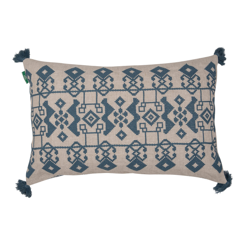 Penny-Morrison-Blue-on-White-Azteca-Embroidered-Cushion-with-Blue-Tassels-Geometric-Quirky-Unique-Statement-Bold