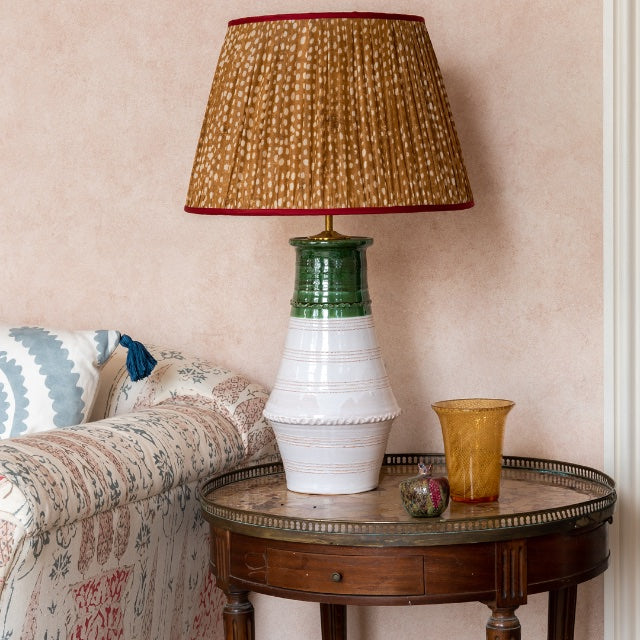 Lampshade Brown and White Spotted Pleated Silk Lampshade with Pink Trim Penny Morrison COLOUR_BROWN, Cream, Empire, Gathered, Lamp, Lampshade, Patterned, Pleated, Shade, Straight