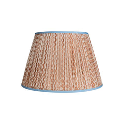 Lampshade Brown and White Squiggle Pleated Silk Lampshade with Blue Trim Penny Morrison COLOUR_BROWN, Empire, Gathered, Lamp, Lampshade, Patterned, Pleated, Shade, Squiggle, Straight, White