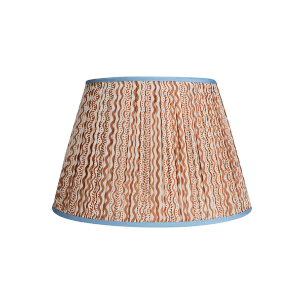 Penny-Morrison-Brown-and-White-Squiggle-Pleated-Silk-Lampshade-with-Blue-Trim-Straight-Empire-Pleated-Gathered-Unique-Stylish-Colourful-Quirky-Straight-Empire-Pleated-Gathered-Unique-Stylish-Colourful-Quirky-Patterned-Squiggle