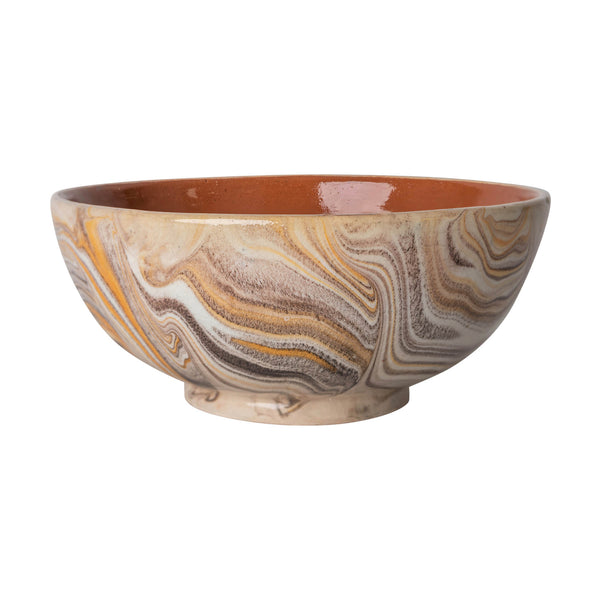 Penny-Morrison-Brown-and-white-marbled-ceramic-pudding-bowl-Unique-Hand-Painted-Glazed-Patterned-Arty-inky-quirky-individual-pudding-bowl