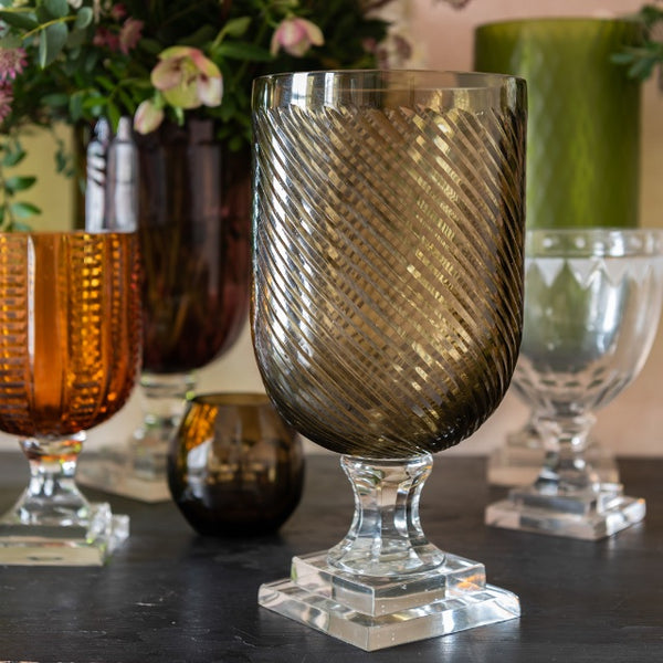 Hurricane Lamp Champagne Killi Cut Taper Glass Hurricane Lamp Penny Morrison Candle Holder, Champagne, COLOUR_BROWN, Dining, Glass, Goblet, Hurricane Lamp, Medium, Set Up, Stripes, Table Accessory, Vase