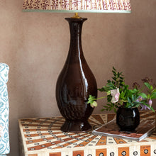 Lamps Chocolate Tall Urn with Lip Ceramic Lamp Base Penny Morrison BASE STYLE_TALL URN, CERAMIC, CHOCOLATE, COLOUR_BROWN, DARK, LAMP BASE, LAMPS, LIGHTING, LIP, NEUTRAL, PATTERNED, PLAIN, SIMPLE, SLIM, STATEMENT, TALL, UNIQUE