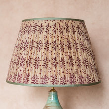 Lampshade Cream and Plum Patterned Pleated Silk Lampshade with Mint Trim Penny Morrison COLOUR_BROWN, Cream, Empire, Gathered, Lamp, Lampshade, Patterned, Pleated, plum, Purple, Shade, Straight