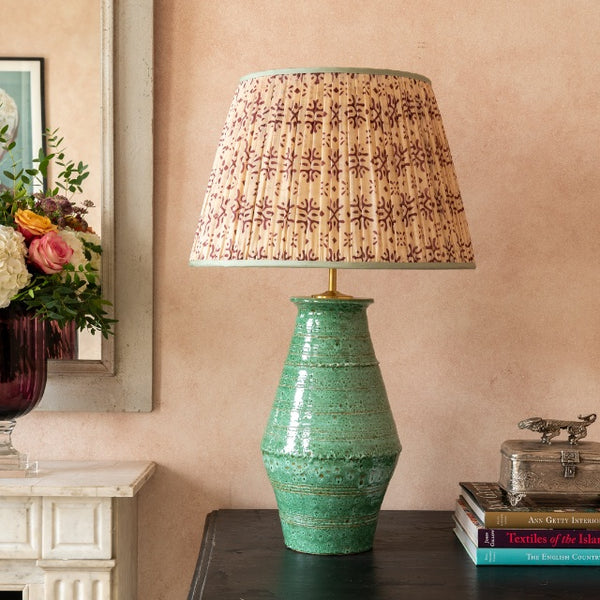 Penny-Morrison-Cream-and-Purple-Patterned-Pleated-Silk-Lampshade-with-Mint-Trim-Straight-Empire-Pleated-Gathered-Unique-Stylish-Colourful-Quirky- Patterned