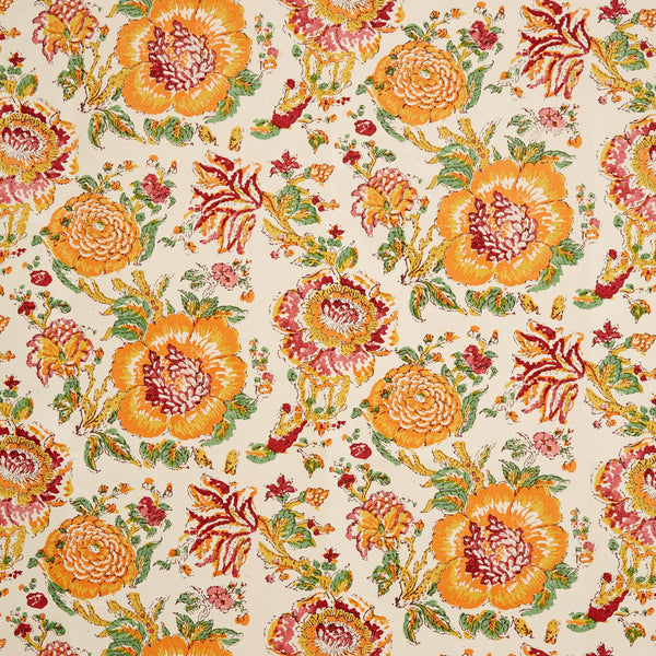 Fabrics Dahlia Orange Penny Morrison COLOUR_ORANGE, DESIGNER_SARAH VANRENEN, flower, garden, linen, PATTERN_FLORAL, QUIRKY