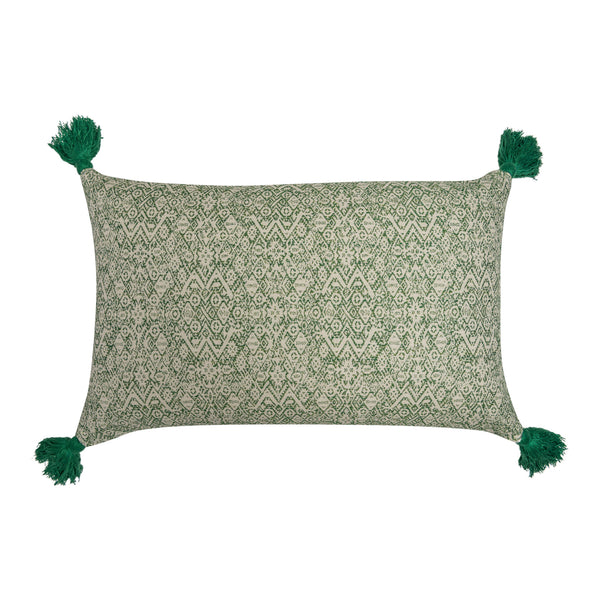Cushions Diamond Ethnic Muskat & Indira Stripe Chocolate Cushion with Green Tassels Penny Morrison accessory, beige, bohemian, brown, chocolate, COLOUR_BROWN, COLOUR_GREEN, cushion, earthy, ethnic, green, linen, long, neutral, pillow, rectangle, soft, tassels