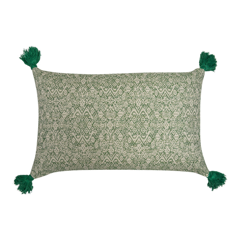 Penny-Morrison-Diamond-Ethnic-Muskat-Indira-Stripe-Chocolate-Linen-Cushion-with-Green-Tassels-rectangle-pillow-soft-accessory-long-linen-neutral-brown-green-ethnic-bohemian-check-tartan-chocolate-earthy-beige