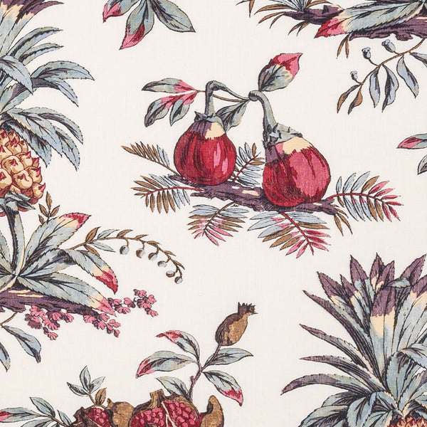 Fabrics Dominica Penny Morrison BERRIES, COLOUR_RED, DESIGNER_PENNY MORRISON, detail, FIGS, flower, FRUIT, FRUITS, ILLUSTRATIVE, intricate, LEAF, PATTERN_FLORAL, PINEAPPLE
