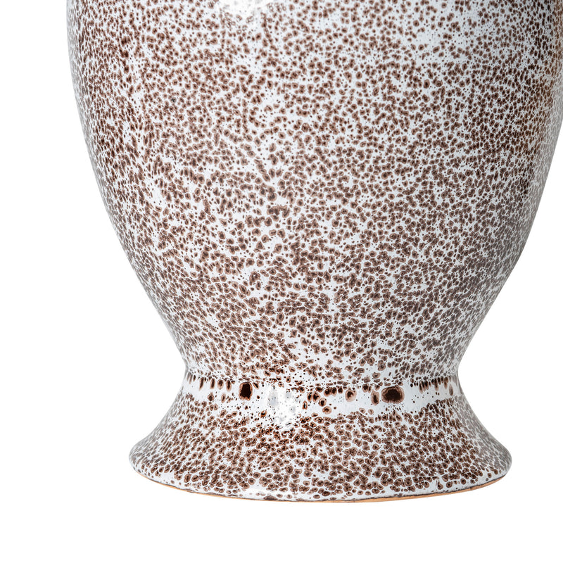 Lamps Dusted Cocoa Brown Tall Urn with Lip Ceramic Lamp Base Penny Morrison BASE STYLE_TALL URN, CERAMIC, CHOCOLATE, COCOA, COLOUR_BROWN, DUSTED, LAMP BASE, LAMPS, LIGHTING, LIP, NEUTRAL, PATTERN, PATTERNED, SLIM, SPECKLED, STATEMENT, TALL, UNIQUE, WHITE