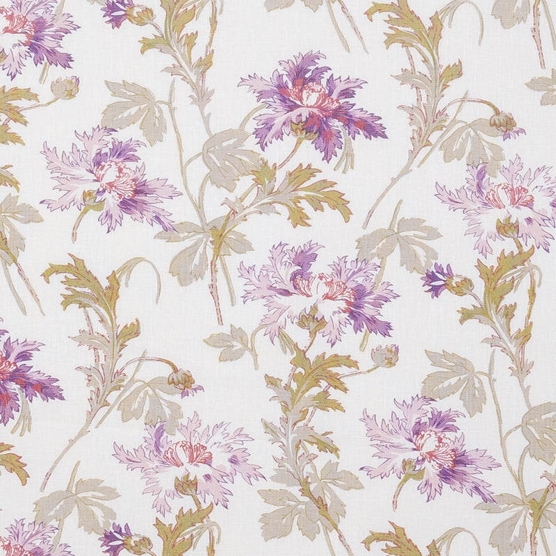 Fabrics Ella May Linen Penny Morrison COLOUR_GREEN, COLOUR_PURPLE, DESIGNER_PENNY MORRISON, FLOWERS, leaf, NATURE, PATTERN_FLORAL, PRETTY, VINTAGE