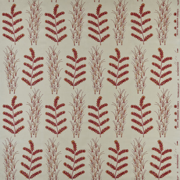 Fabrics Madras Leaf Raspberry Penny Morrison COLOUR_RED, DESIGNER_PENNY MORRISON, PATTERN_FLORAL, QUIRKY, UNIQUE, VERTICAL