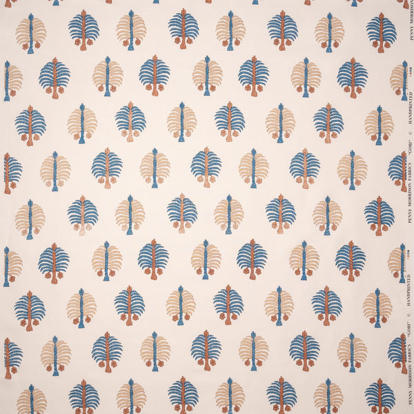 Fabrics Gobi Blue Penny Morrison BOLD, COLOUR_BLUE, COLOUR_BROWN, DESIGNER_PENNY MORRISON, FLORA, NATURE, PALM TREE, PATTERN_FLORAL, PLAYFUL, QUIRKY, REPEATED, UNIQUE