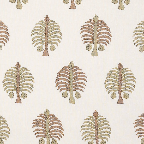 Fabrics Gobi Green Penny Morrison BOLD, COLOUR_BROWN, COLOUR_GREEN, DESIGNER_PENNY MORRISON, FLORA, NATURE, PALM TREE, PATTERN_FLORAL, PLAYFUL, QUIRKY, REPEATED, UNIQUE