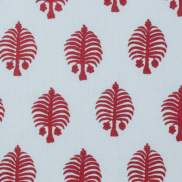Fabrics Gobi Red on Blue Penny Morrison BOLD, COLOUR_RED, DESIGNER_PENNY MORRISON, FLORA, NATURE, PALM TREE, PATTERN_FLORAL, PLAYFUL, QUIRKY, REPEATED, UNIQUE