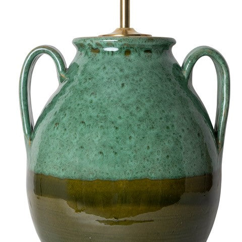 Lamps Graduated Green Rounded Urn With Handles Ceramic Lamp Base Penny Morrison BASE STYLE_ROUNDED URN, CERAMIC, CHUNKY, COLOUR_GREEN, CURVY, DARK, FOREST GREEN, GRECIAN, HANDLES, LAMP, LAMP BASE, LAMPS, LIGHTING, SIMPLE, STATEMENT, UNIQUE, URN