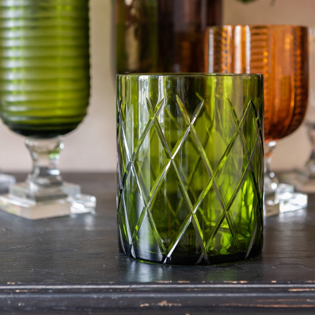 Hurricane Lamp Green Cylinder Glass Hurricane Lamp Penny Morrison Candle Holder, COLOUR_GREEN, Cylinder, Diamond, Dining, Emerald, Glass, Hurricane Lamp, Set Up, Small, Table Accessory, Vase