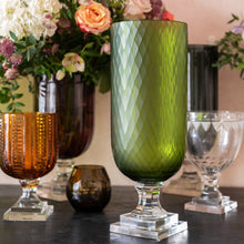 Hurricane Lamp Green Diamond Tall Glass Hurricane Lamp Penny Morrison Candle Holder, COLOUR_GREEN, Diamond, Dining, Emerald, Glass, Hurricane Lamp, Large, Lime, Neutral, Nude, Patterned, Set Up, Table Accessory, Vase