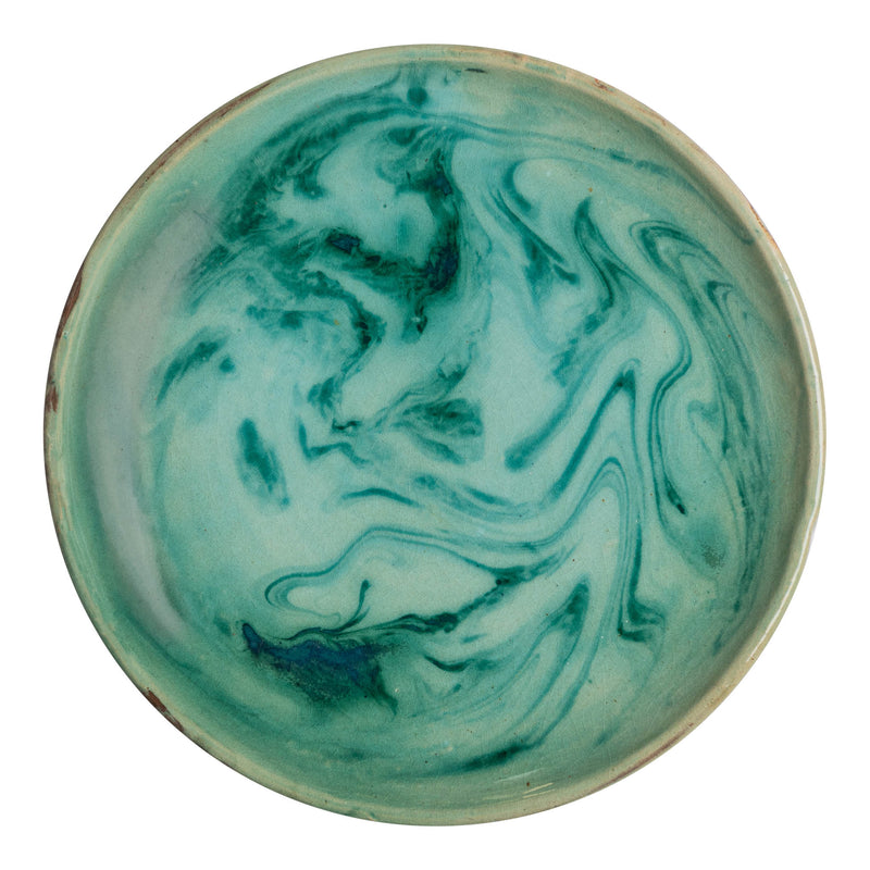Penny-Morrison-Green-Marbled-Ceramic-Large-Plate-Unique-Hand-Painted-Glazed-Patterned-Arty-inky-quirky-individual-main-course-plate