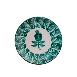 Tableware Green Pomegranate Ceramic Large Plate Penny Morrison ceramics, COLOUR_GREEN, crockery, dining, large, main, PATTERN_FLORAL, place setting, plate, pottery, sets, Tableware