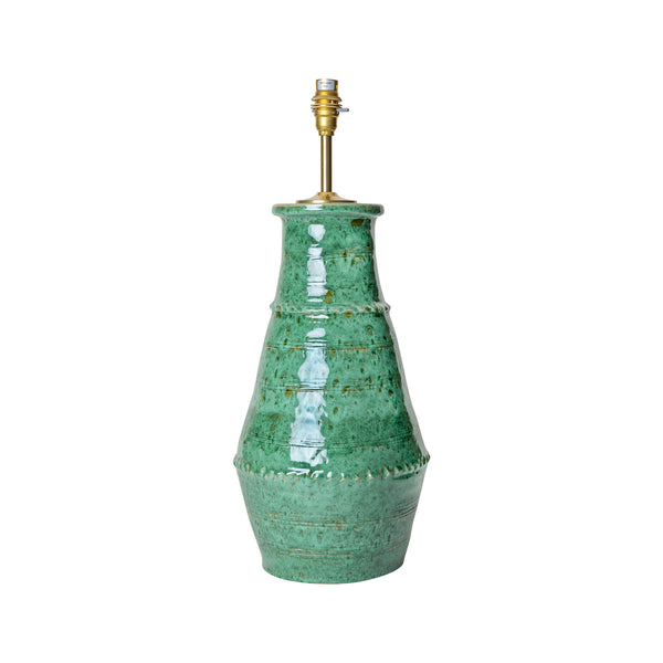 Lamps Aqua Ribbed Vase Ceramic Lamp Base Penny Morrison BASE STYLE_RIBBED VASE, BOLD, CERAMIC, COLOUR_GREEN, EMERALD, JADE, LAMP BASE, LAMPS, LIGHTING, PLAIN, SIMPLE, STATEMENT, UNIQUE, VASE