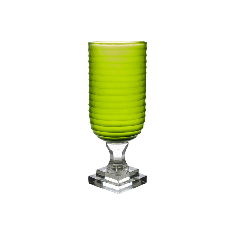 Hurricane Lamp Green Round Ribbed Tall Glass Hurricane Lamp Penny Morrison Candle Holder, COLOUR_GREEN, Dining, Emerald, Glass, Hurricane Lamp, Large, Lime, Ribbed, Set Up, Table Accessory, Vase