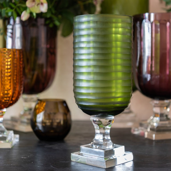 Hurricane Lamp Green Round Ribbed Tall Glass Hurricane Lamp Penny Morrison Candle Holder, COLOUR_GREEN, Dining, Emerald, garden party, Glass, Hurricane Lamp, Large, Lime, Ribbed, Set Up, Table Accessory, Vase