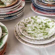 Tableware Green Speckled Ceramic Medium Plate Penny Morrison ceramics, COLOUR_GREEN, crockery, dining, green, paint, PATTERN_SPECKLED, place setting, plate, pottery, sets, side plate, small, speckled, splatter, spots, Tableware, TYPE_PLATES, white