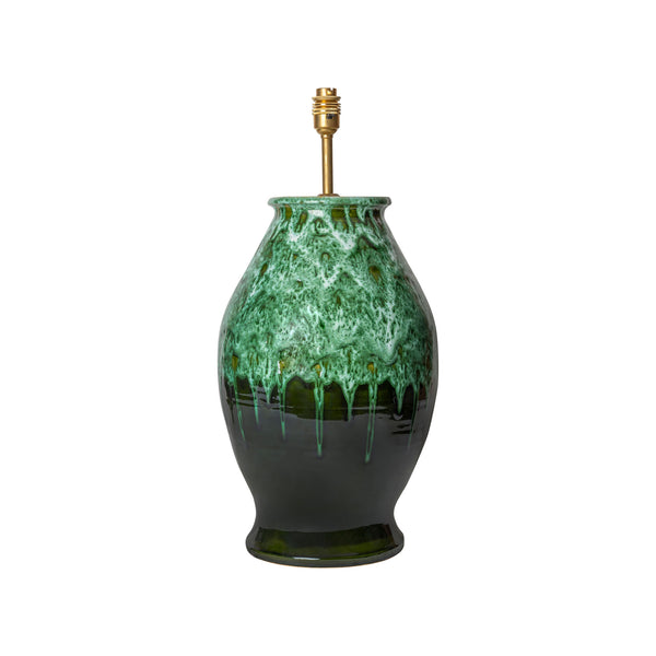 Lamps Graduated Green Rounded Urn Ceramic Lamp Base Penny Morrison BASE STYLE_ROUNDED URN, CERAMIC, CHUNKY, COLOUR_GREEN, CURVY, DARK, EMERALD, FOREST GREEN, LAMP BASE, LAMPS, LIGHTING, PLAIN, QUIRKY, SIMPLE, STATEMENT, UNIQUE