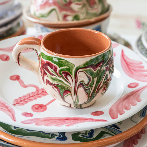 Tableware Green and Pink Marbled Ceramic Large Coffee Cup Penny Morrison blue, ceramics, coffee, COLOUR_GREEN, COLOUR_PINK, crockery, cup, dining, green, ink, large, marble, mug, PATTERN_MARBLED, place setting, pottery, sets, swirl, Tableware, tea, terracotta, TYPE_CUPS