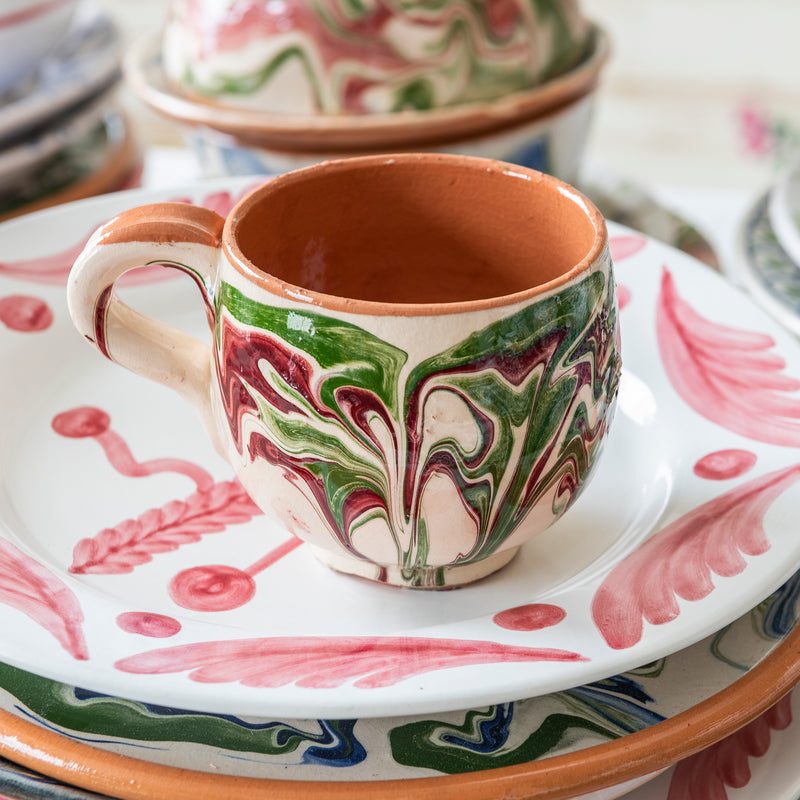 Tableware Green and Pink Marbled Ceramic Large Coffee Cup Penny Morrison blue, ceramics, coffee, COLOUR_GREEN, COLOUR_PINK, crockery, cup, dining, green, ink, large, marble, mug, PATTERN_MARBLED, place setting, pottery, sets, swirl, Tableware, tea, terracotta