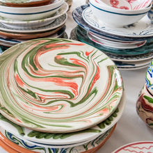Tableware Green and Pink Marbled Ceramic Large Plate Penny Morrison ceramics, COLOUR_BLUE, COLOUR_GREEN, COLOUR_PINK, crockery, dining, green, ink, large, main course, marble, PATTERN_MARBLED, pink, place setting, plate, pottery, sets, swirl, Tableware, terracotta