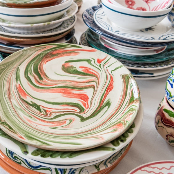 Tableware Green and Pink Marbled Ceramic Large Plate Penny Morrison ceramics, COLOUR_BLUE, COLOUR_GREEN, COLOUR_MARBLED, COLOUR_PINK, crockery, dining, green, ink, large, main course, marble, PATTERN_MARBLED, pink, place setting, plate, pottery, sets, swirl, Tableware, terracotta, TYPE_PLATES