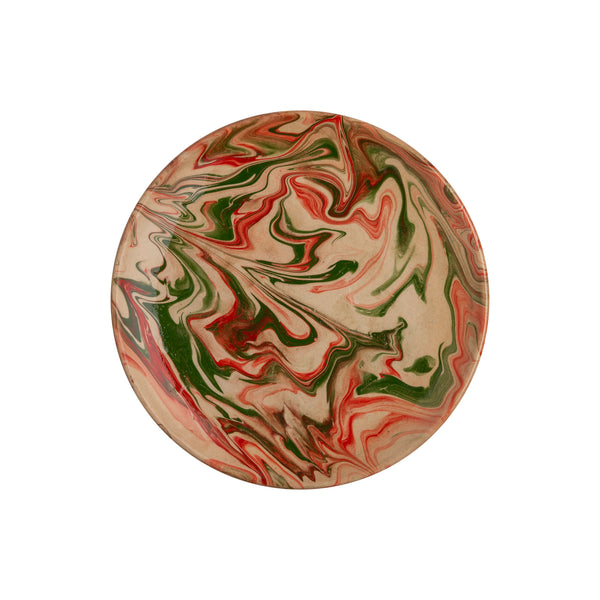 Green and Pink Marbled Ceramic Large Plate
