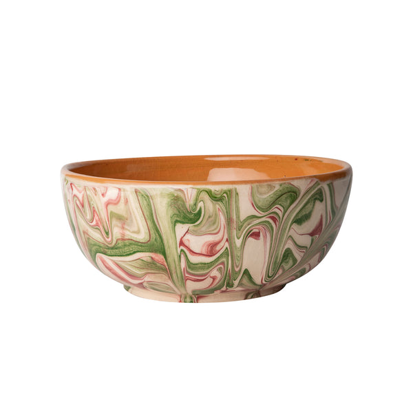 Penny-Morrison-Green-and-Pink-Marbled-Ceramic-Pudding-Bowl-Unique-Hand-Painted-Glazed-Patterned-Arty-inky-quirky-individual-dessert-bowl