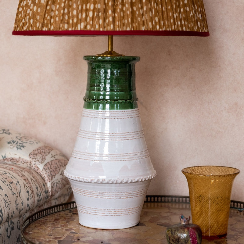 Penny-Morrison-Green-and-White-Ribbed-Vase-Ceramic-Lamp Base-Quirky-Unique-Colourful-Hand-Painted-Bespoke-Artisanal