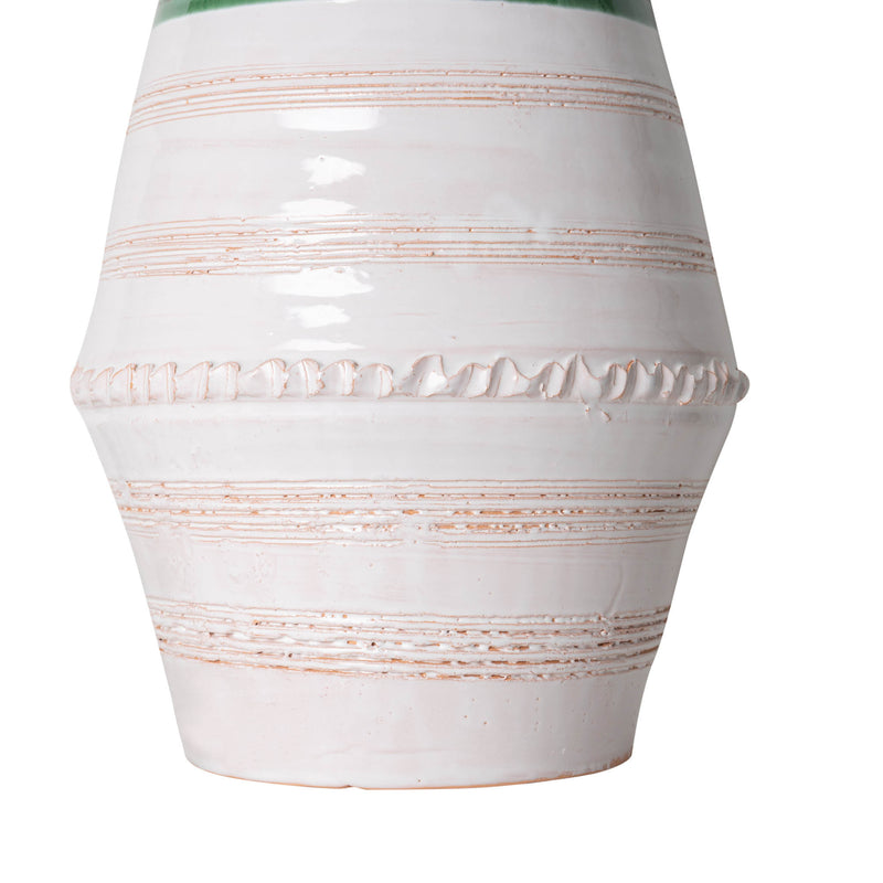 Penny-Morrison-Green-and-White-Ribbed-Vase-with-Handles-Ceramic-Lamp-Base-Quirky-Unique-Colourful-Hand-Painted-Bespoke-Artisanal