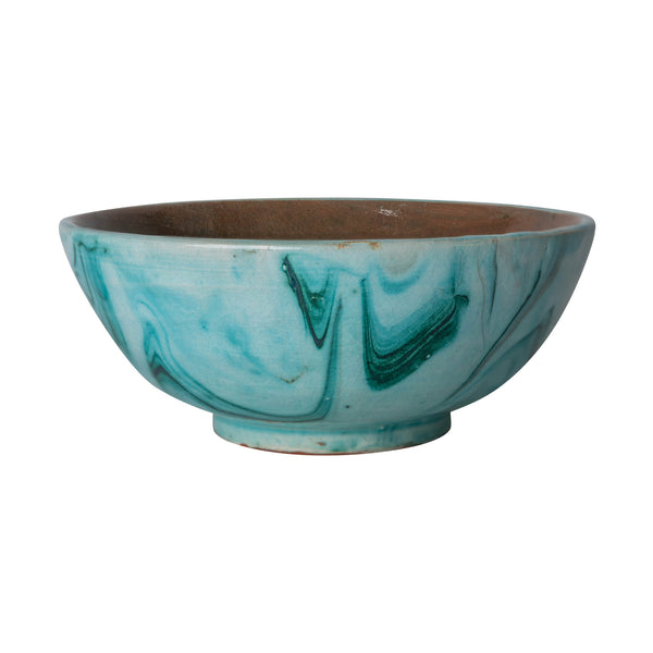Penny-Morrison-Green-marbled-ceramic-pudding-bowl-Unique-Hand-Painted-Glazed-Patterned-Arty-inky-quirky-individual-pudding-bowl