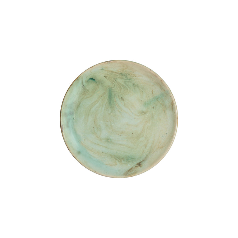 Tableware Green Marbled Small Plate Penny Morrison aqua, blue, ceramics, COLOUR_BLUE, COLOUR_GREEN, crockery, dining, green, ink, marble, MARBLED, PATTERN_MARBLED, place setting, plate, pottery, sets, small, swirl, TABLE, terracotta