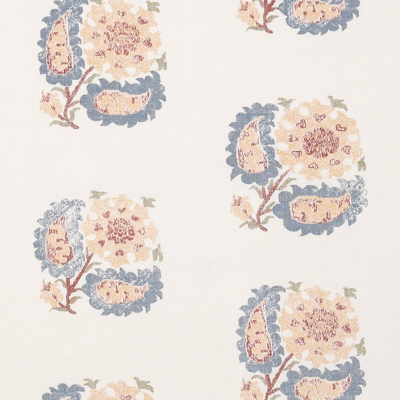 Fabrics Helena Indigo Penny Morrison COLOUR_BLUE, COLOUR_YELLOW, DESIGNER_PENNY MORRISON, flower, ILLUSTRATIVE, leaf, MEDIEVAL, NATURE, PATTERN_FLORAL, REPEATED, TAPESTRY, UNIQUE