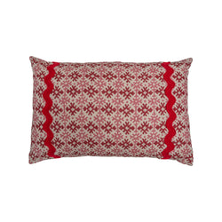 Penny-Morrison-Hemant-Red-and-Pink-Linen-Cushion-with-Red-Wavy-Trim- rectangle-pillow-soft-accessory-long-linen-trim-braiding-red-pink-geometric- pattern-unique-quirky-statement